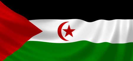 sahrawi arab democratic republic: Flag of Sahrawi Arab Democratic Republic waving in the wind detail