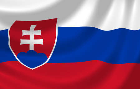 slovakia flag: Flag of Slovakia waving in the wind detail Stock Photo