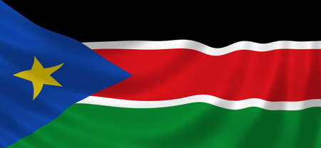 sudan: Flag of South Sudan waving in the wind detail