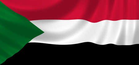 Flag of Sudan waving in the wind detail  Stock Photo - 17156548