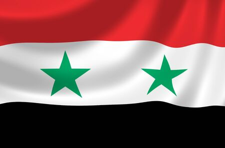 arab flags: Flag of Syria waving in the wind detail