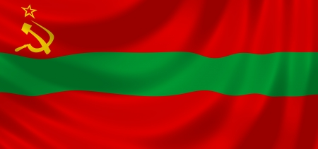 Flag of Transnistria State waving in the wind detail  photo