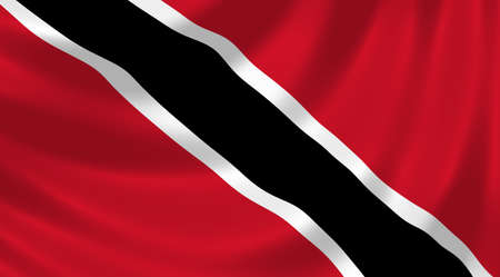 Flag of Trinidad and Tobago waving in the wind detail  photo
