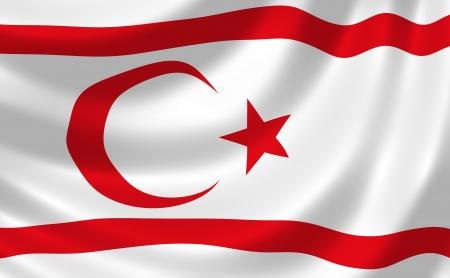Flag of Turkish Republic of Northern Cyprus waving in the wind detail