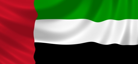 Flag of United Arab Emirates waving in the wind detail photo
