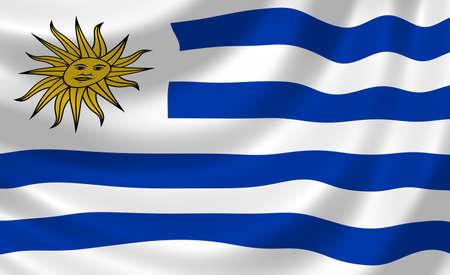 bandera de uruguay: Bandera de Uruguay ondeando en el viento detalle