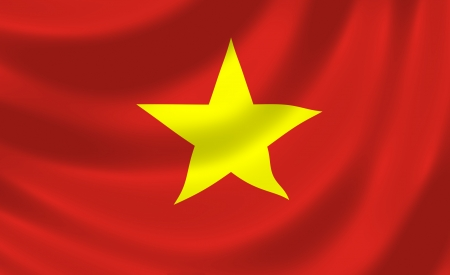 Flag of Vietnam waving in the wind detail  Stock Photo