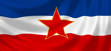 former yugoslavia: Flag of former Yugoslavia waving in the wind detail  Stock Photo