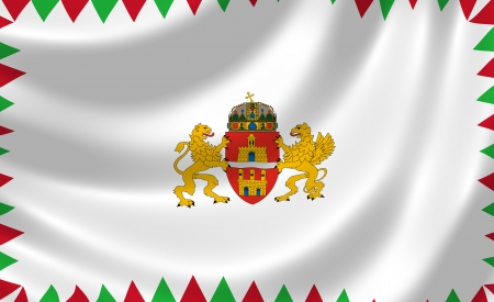 Flag of Budapest waving in the wind detail Stock Photo - 17163602