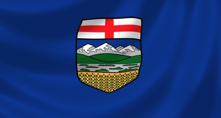 canadian flag: Flag of Canadian Alberta Province waving in the wind detail