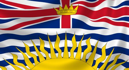 british columbia: Flag of Canadian British Columbia Province waving in the wind detail
