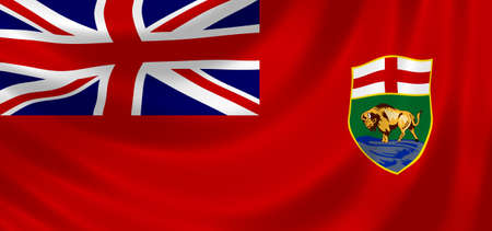 manitoba: Flag of Canadian Manitoba Province waving in the wind detail