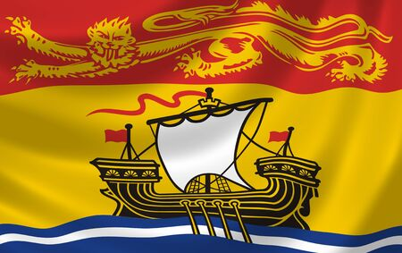 Flag of Canadian New Brunswick Province waving in the wind detail  photo