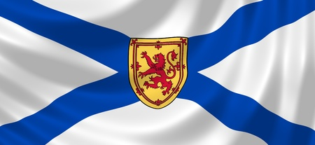 Flag of Canadian Nova Scotia Province waving in the wind detail photo