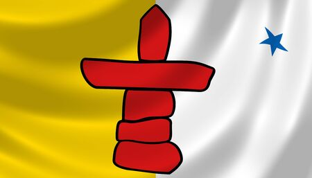 territories: Flag of Canadian Nunavut territory waving in the wind detail