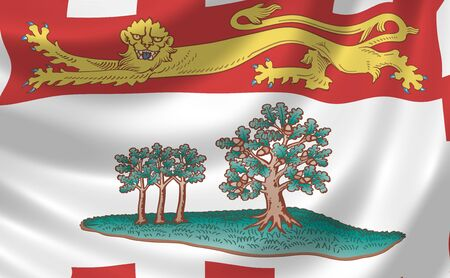 Flag of Canadian Prince Edward Island Province waving in the wind detail  photo