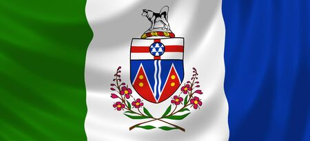 yukon: Flag of Canadian Yukon territory waving in the wind detail  Stock Photo
