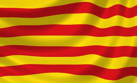 catalonia: Flag of Spanish Catalonia Autonomous community waving in the wind detail