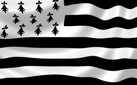brittany: Flag of French Brittany region waving in the wind detail