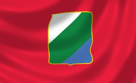 Flag of Italian Abruzzo region waving in the wind detail Stock Photo - 17181917