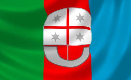 Flag of Italian Liguria region waving in the wind detail Stock Photo - 17181916