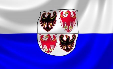 alto: Flag of Italian Trentino Alto - South Tyrol region waving in the wind detail  Stock Photo
