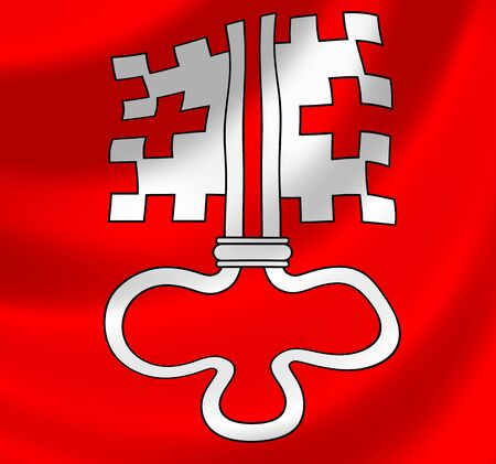 swiss insignia: Swiss Canton of Nidwalden flag waving in the wind detail