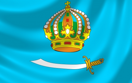 oblast: Flag of Russian Astrakhan federal Oblast waving in the wind detail