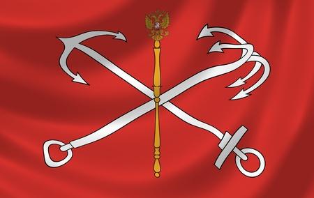 saint petersburg: Flag of federal city of Saint Petersburg waving in the wind detail