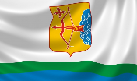 oblast: Flag of Russian Kirov federal Oblast waving in the wind detail