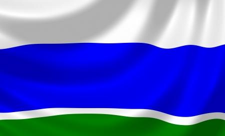 oblast: Flag of Russian Sverdlovsk federal Oblast waving in the wind detail