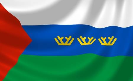 oblast: Flag of Russian Tyumen federal Oblast waving in the wind detail  Stock Photo