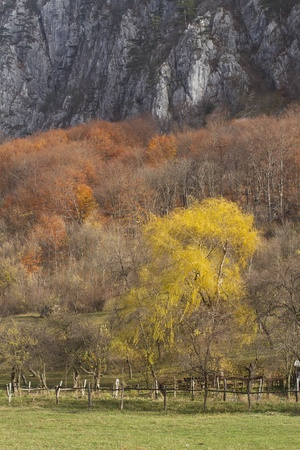 stratified: Abstract mountain autumn landscape