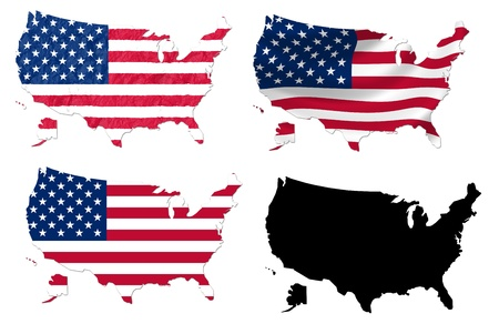 United States flag over map collage photo