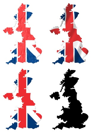 United Kingdom flag over map collage photo