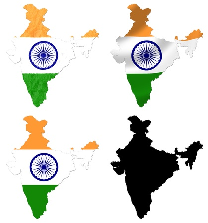crumple: India flag over map collage