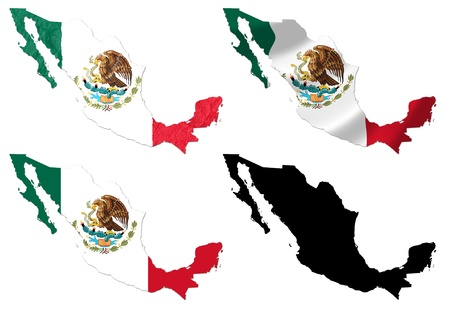Mexico flag over map collage photo