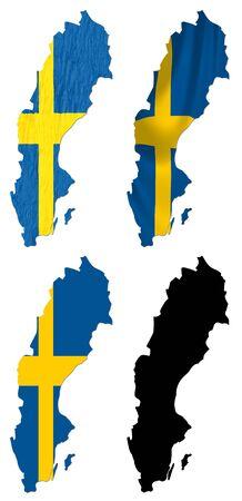 map of sweden: Sweden flag over map collage