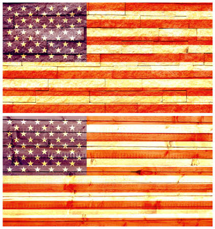 Vintage wall flag of United States of America collage photo
