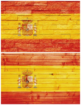 Vintage wall flag of Spain collage photo