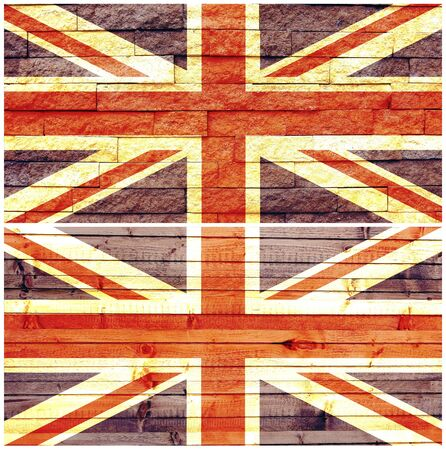 Vintage wall flag of United Kingdom collage Stock Photo - 17825577