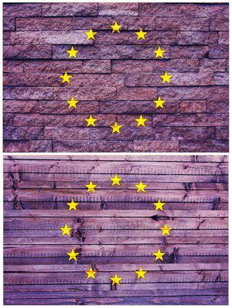 unitary: Vintage wall flag of European Union collage