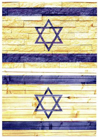Vintage wall flag of Israel collage photo