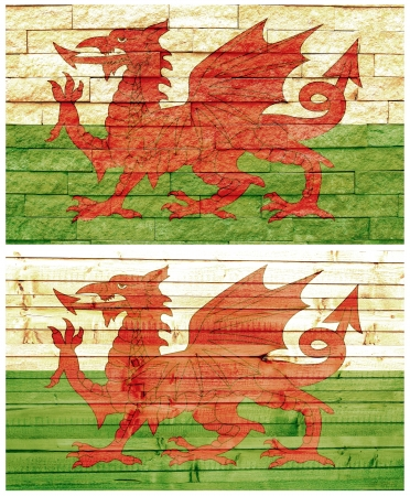 Vintage wall flag of Wales collage photo