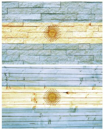 Vintage wall flag of Argentina collage photo