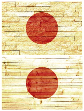 Vintage wall flag of Japan collage photo