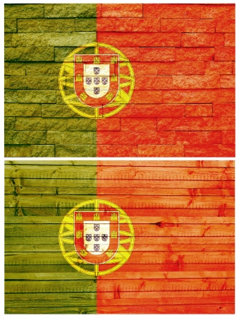 Vintage wall flag of Portugal collage photo