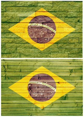 Vintage wall flag of Brazil collage photo