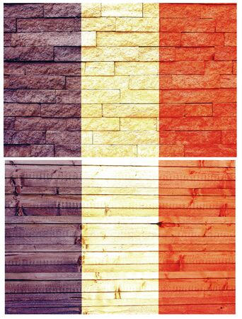 Vintage wall flag of France collage photo