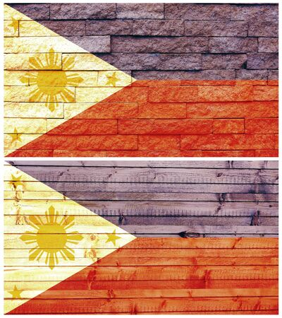 Vintage wall flag of Philippines collage photo